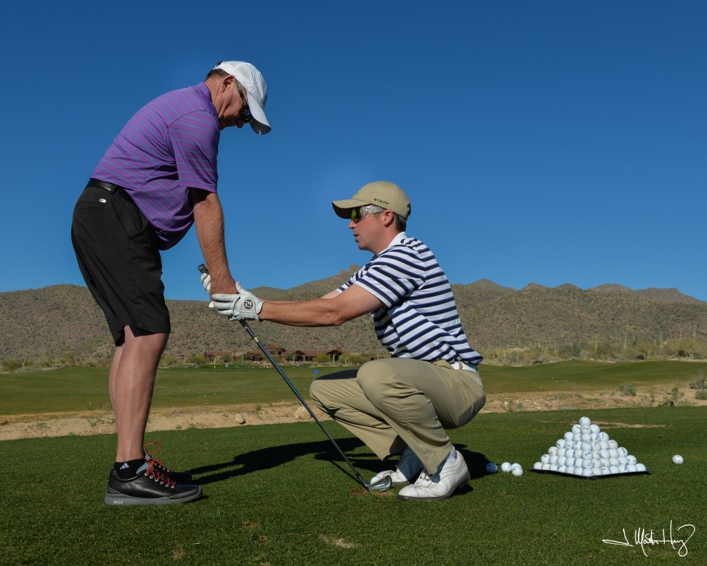 One of our PGA certified instructors giving a lesson at our Tucson Arizona golf course