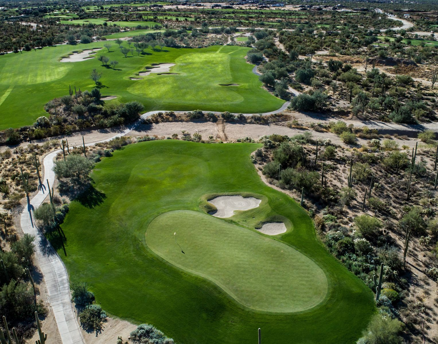 Aerial view of hole 5 on the Tortolita course