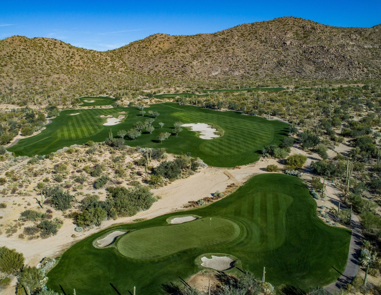 Aerial view of hole 8 on the Tortolita course