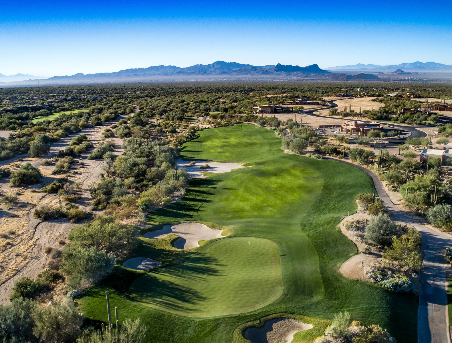 Aerial view of hole 5 on the Wild Burro course