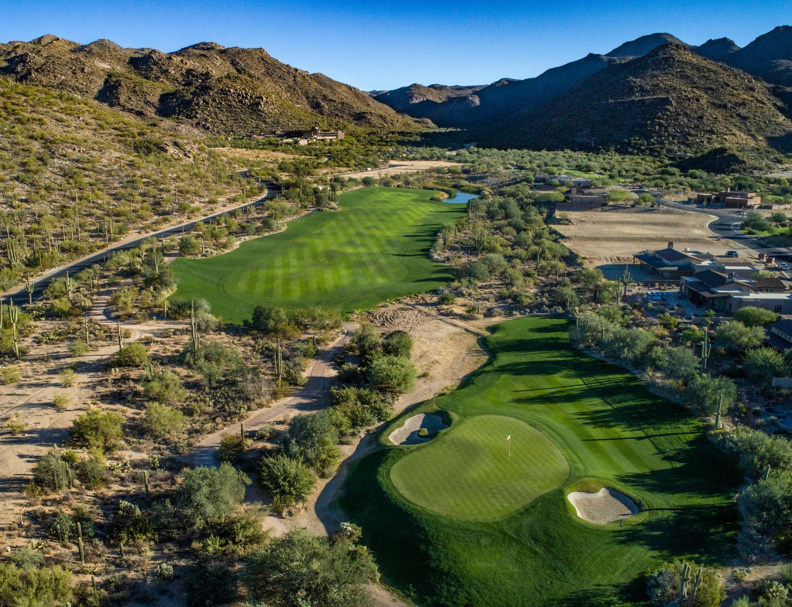 Aerial view of hole 6 on the Wild Burro course