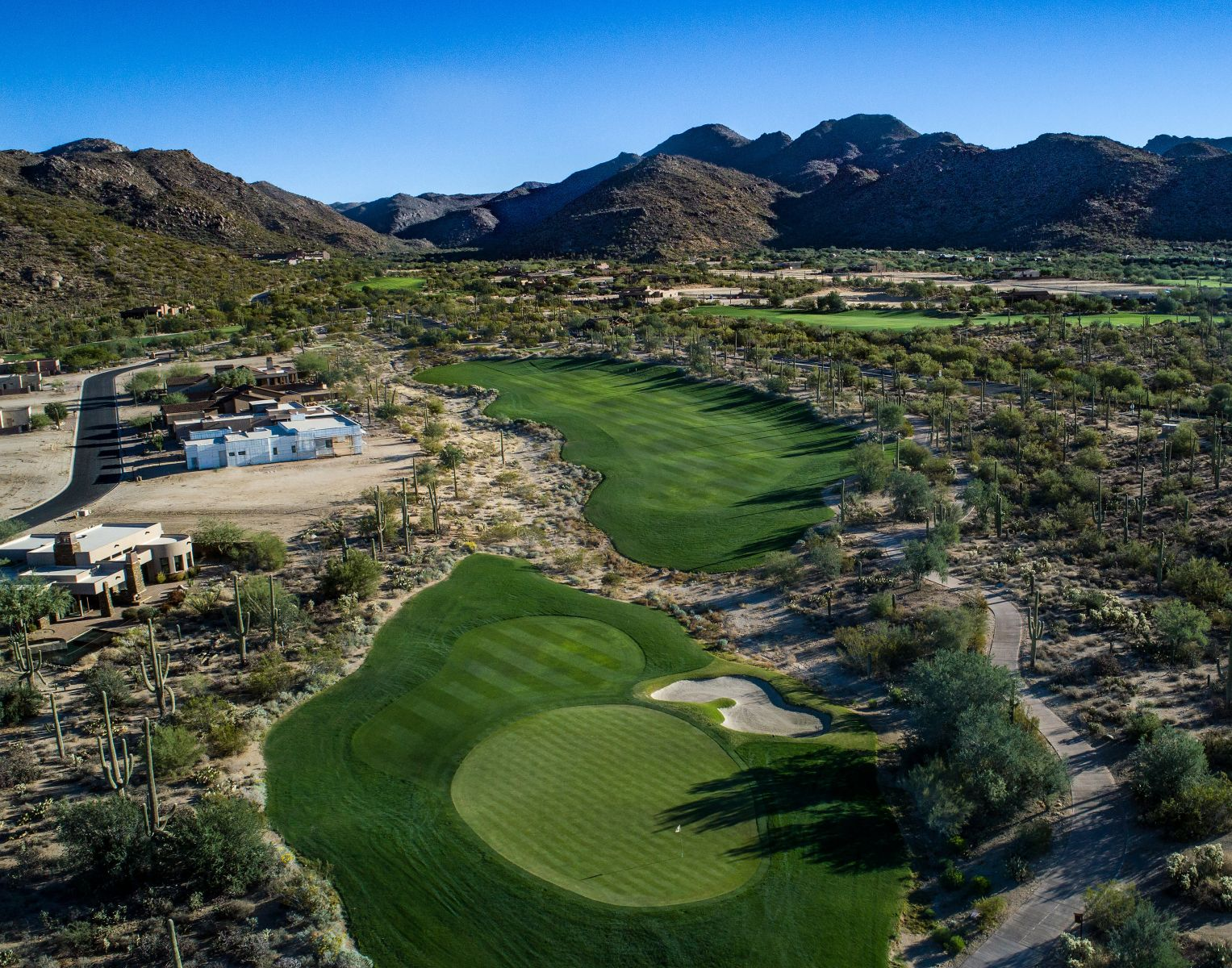 Aerial view of hole 7 on the Wild Burro course