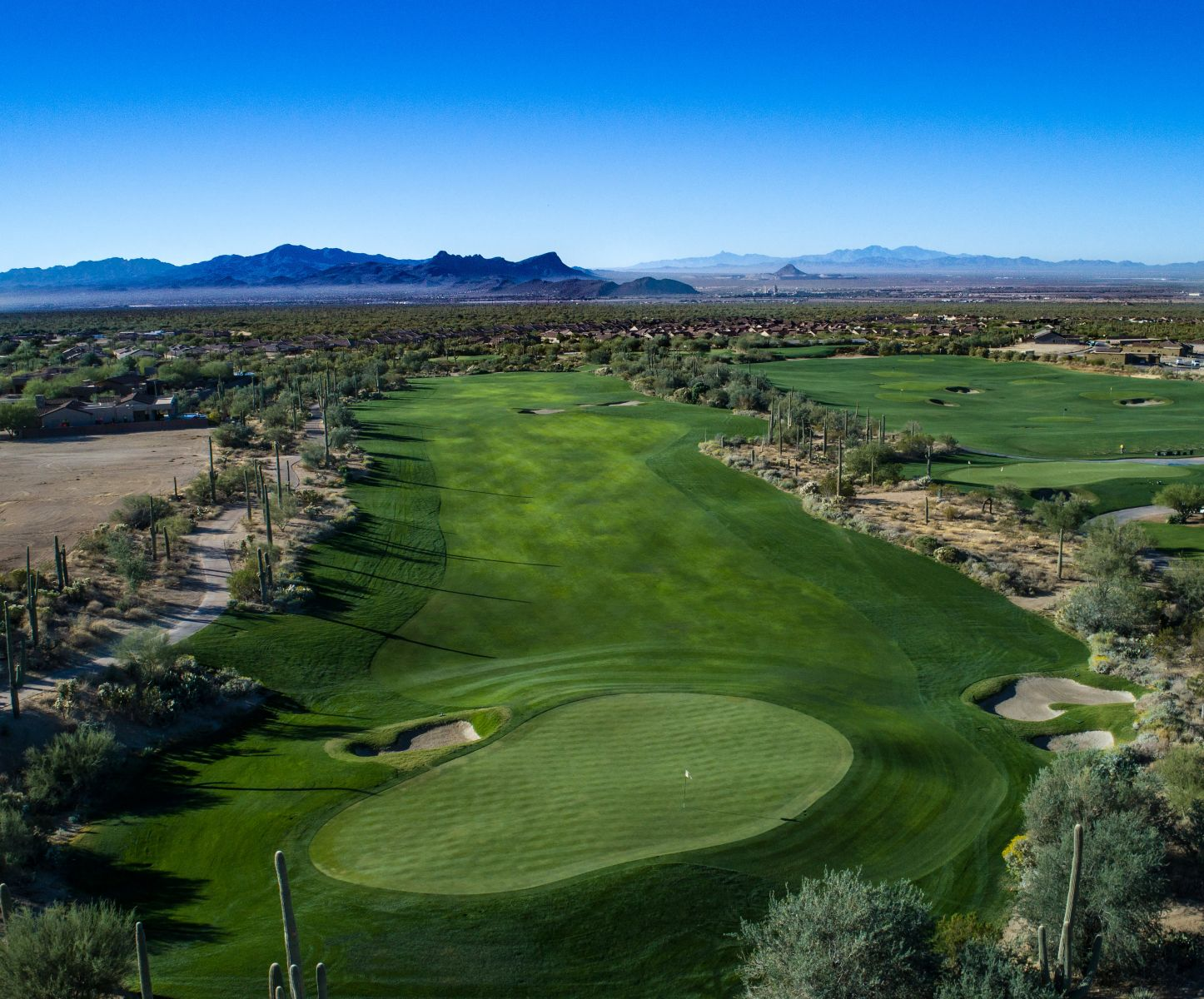 Aerial view of hole 9 on the Wild Burro course