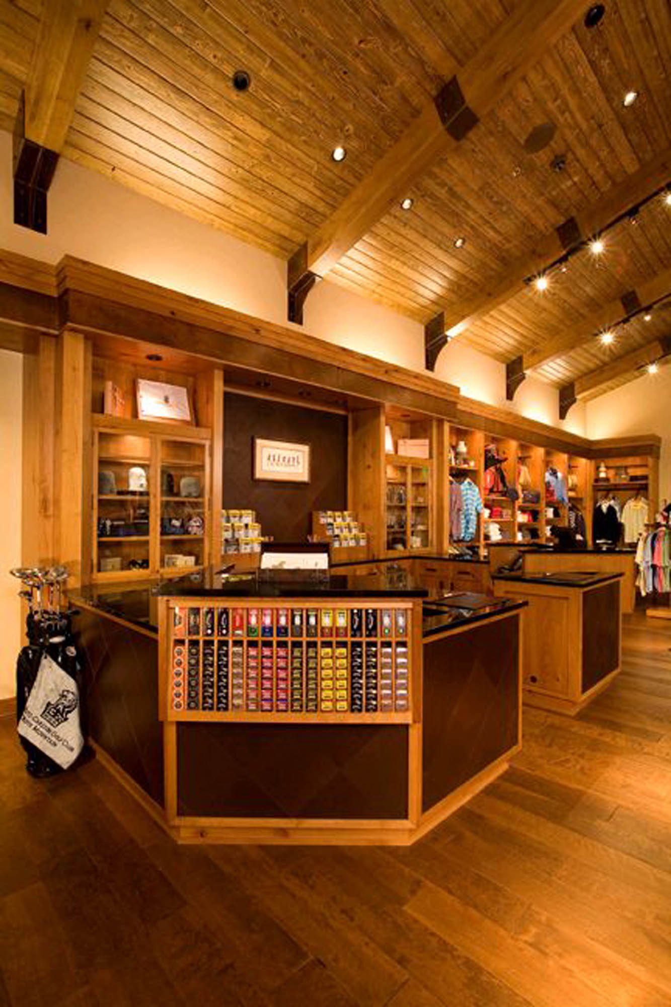 Various golf merchandise is displayed in the Golf Shop