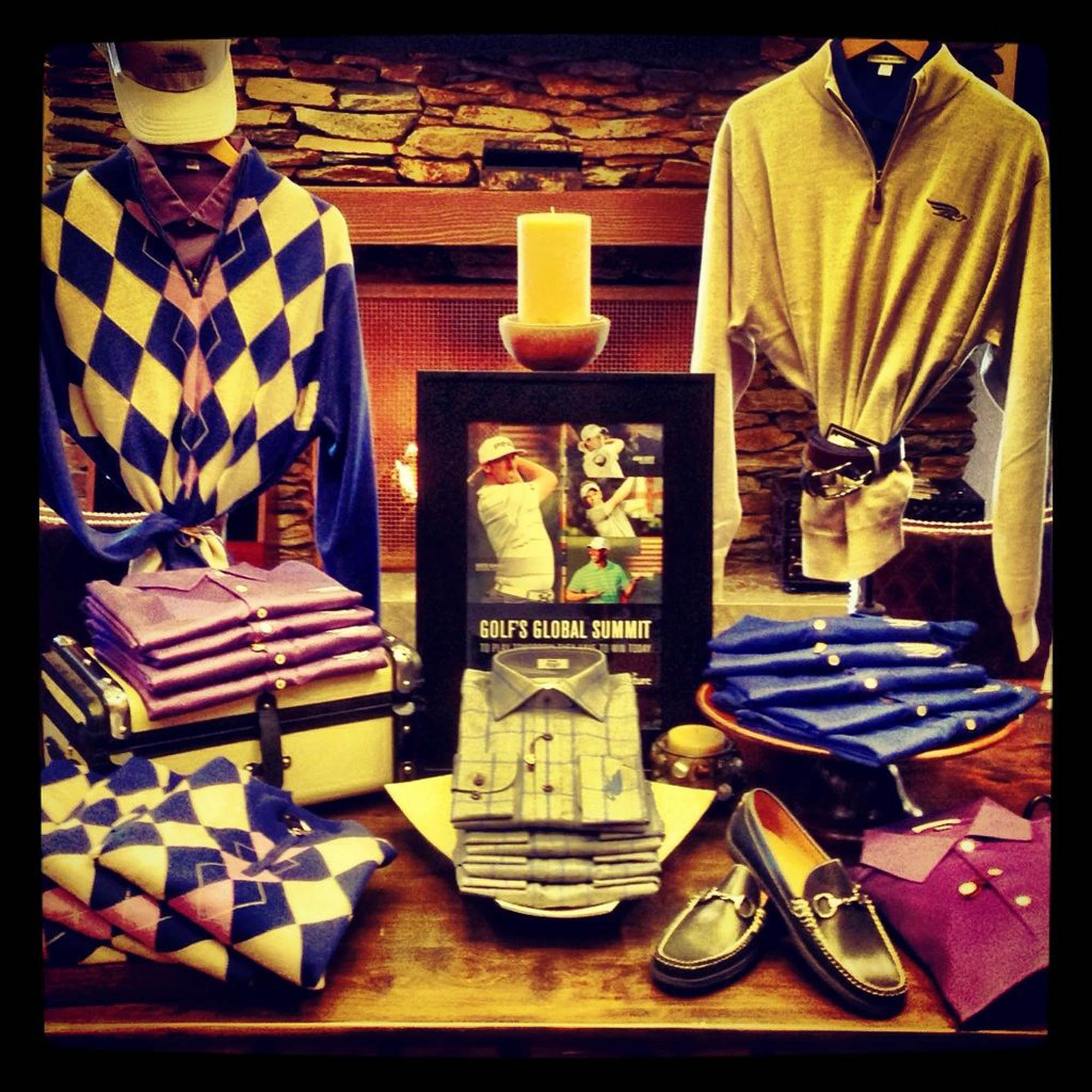 Men's golf apparel is on display in the Golf Shop